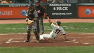 PIT@SF: Huff hits an inside-the-park home run