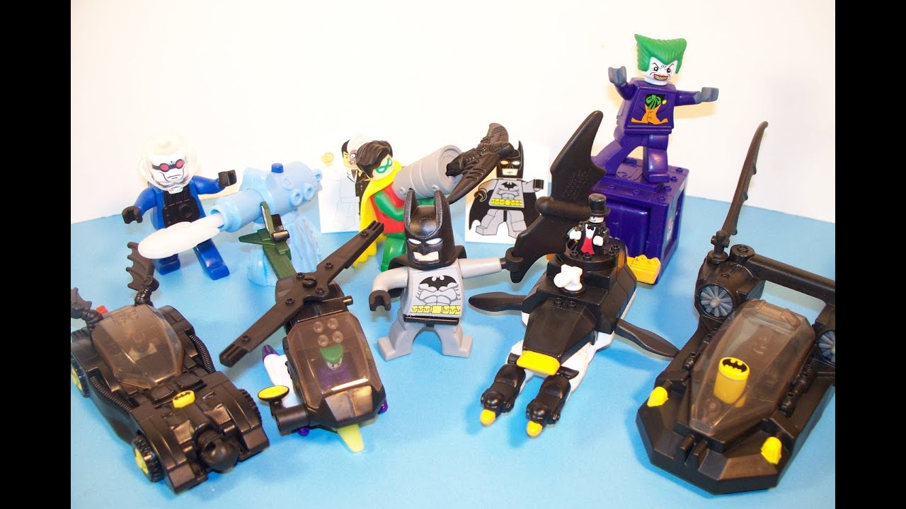 2008 lego batman the video game set of 8 mcdonalds happy meal toys video review