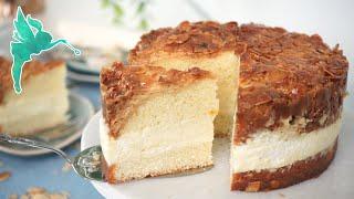 Klassischer Bienenstich wie aus der Konditorei - Bienenstich Kuchen mit Creme Rezept - Kuchenfee