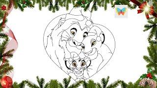 New Year [25 December] Как нарисовать Муфасу, Сараби и Симбу в новогодних шапочках! [Король Лев]