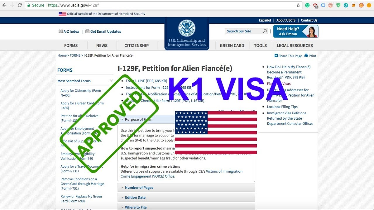 K1 Fiance Visa Approved Form I 129 F Step By Step How To Fill Out