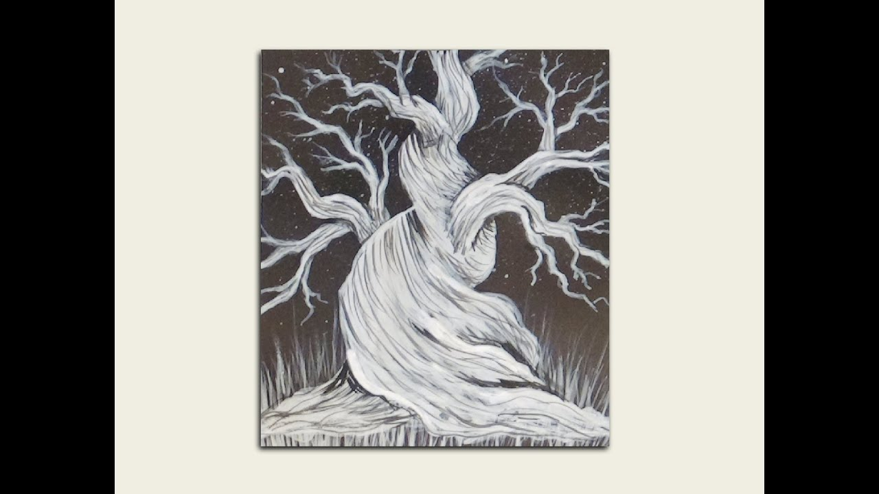 white silhouette painting haunting tree youtube