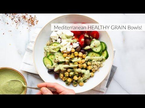 Mediterranean HEALTHY grain bowls with Green Tahini Sauce