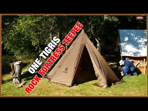 The OneTigris Rock Fortress Teepee Hot Tent #01 / Erster Aufbau im Bushcraft Camp / Big Tipi
