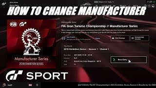 GT Sport How To Change Your Manufacturer Exhibition Season 1