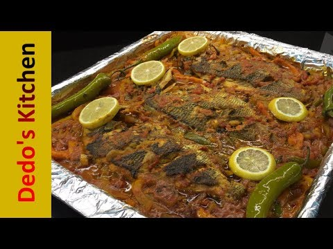 BAKED FISH Recipe With Tomato Sauce __ ( Middle Eastern Style )