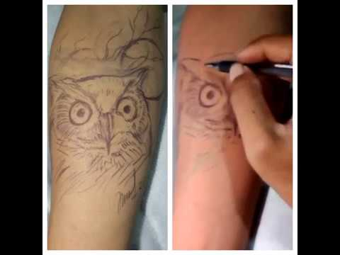 De Inked Bali Tattoo Owl Tattoo Design Part 1 Youtube