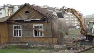 Wyburzanie domu przy ul. Popiełuszki pod Trasę Niepodległości w Białymstoku  12-14.04.2017