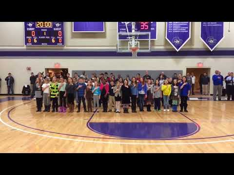 Thacher Montessori School Students Sing the National Anthem at Curry College