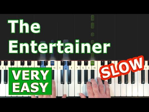 Scott Joplin - The Entertainer - Piano Tutorial VERY EASY SLOW (Synthesia)