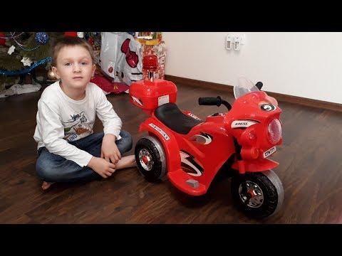 Мотоцикл Полиция Трёхколёсный скутер Scooter Kreiss на аккумуляторе 6V Детский Мир Распаковка
