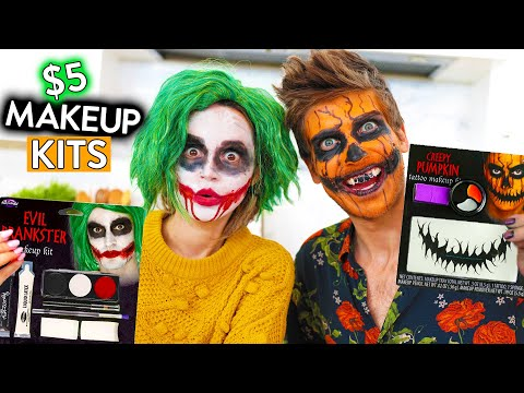 TRYING EVEN MORE $5 HALLOWEEN MAKEUP KITS ft Joey Graceffa thumbnail