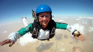 AFF level 4 jump - fun exit, first solo pull and making sure I am REALLY visible in that video ;)