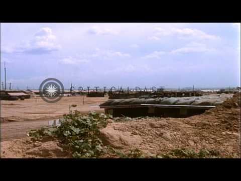 US M113 Armored Personnel Carriers, artillery fortifications, bunkers and militar...HD Stock Footage