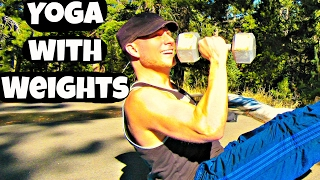 Full Yoga with Weights Workout - 2 Dumbbells and a Yoga Mat (part 1) #yogawithweights