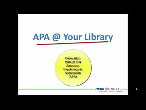 APA @ Your Library: How to Cite Websites