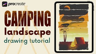 Camping Landscape in PROCREATE  Step by Step IPAD PAINTING TUTORIAL