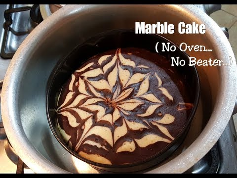 Marble Cake Recipe without oven – No Beater required – Homemade marble cake – Super soft and spongy