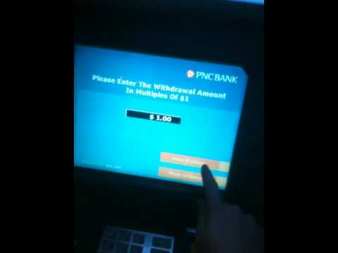 Withdrawing $1 at PNC bank ATM in Wasington DC