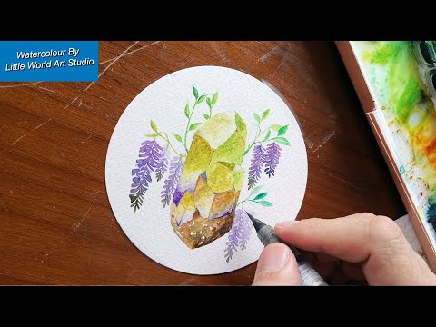 Purple Wisteria FLower & Crystals - Paint a Shiny Crystals and Beautiful Flower with WATERCOLOUR