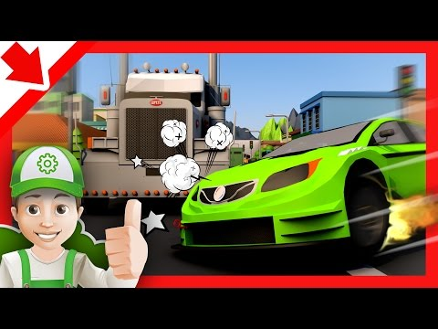 Cartoon for children. Fire at the gas station fire engine - Cartoon fireman with Handy Andy