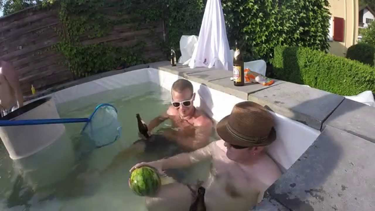 Das bauteam pool aus bierkisten youtube for Pool aus gummi