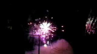 Firework display on the street in Benidorm 2007 Fiesta week
