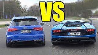 LAMBORGHINI AVENTADOR vs AUDI RS3 - RS3 WON AGAIN?😲