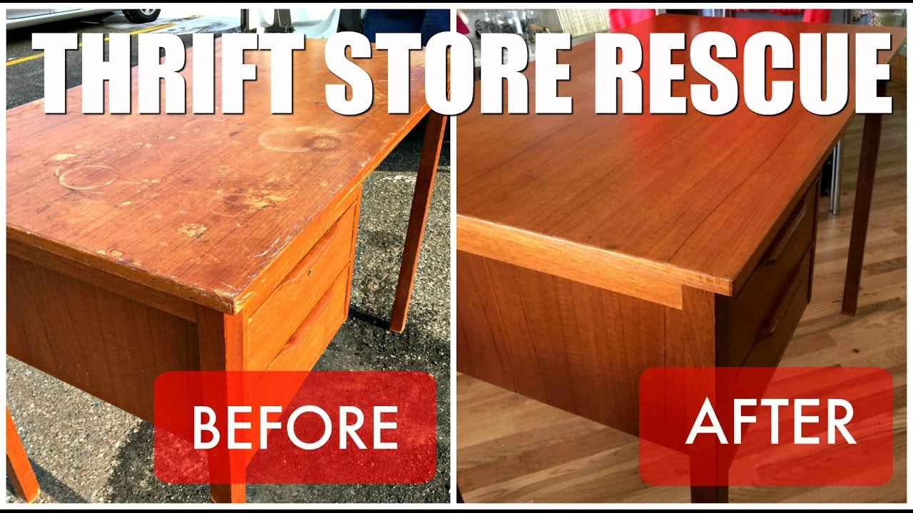 Thrift Store Rescue Teak Desk Refinish Youtube
