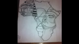 King Tut And Queen Nefertiti Africa Outline Drawing By Ced Tatau
