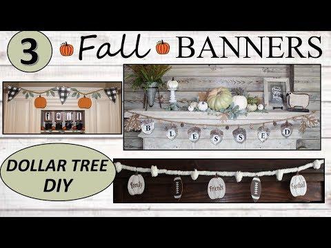 FARMHOUSE FALL DECOR (2019) | Dollar Tree DIY | FALL BANNERS