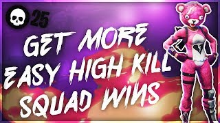 How To Get HIGH Kill Squad Games + Wins In Fortnite! (25 Kill Console Battle Royale Tips)