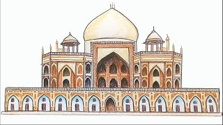 How to draw  Humayun Tomb  step by step