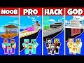 Minecraft: FAMILY BOAT SHIP PRISON HOUSE BUILD CHALLENGE - NOOB vs PRO vs HACKER vs GOD in Minecraft
