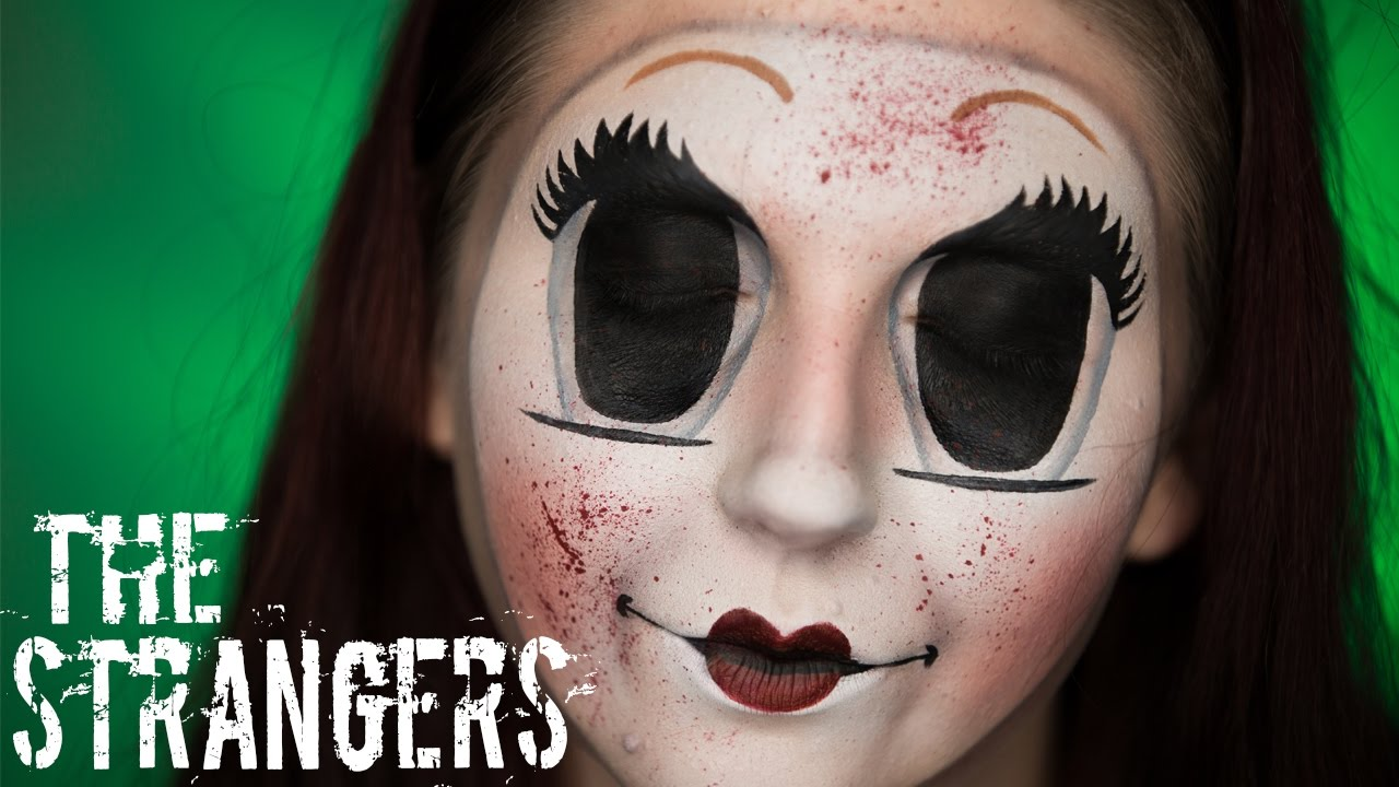 the strangers dollface mask creepy doll halloween makeup tutorial youtube