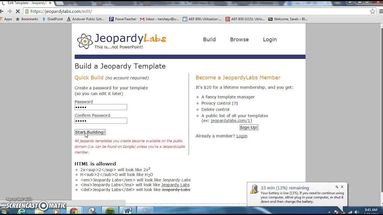 Персональний сайт - JeopardyLabs