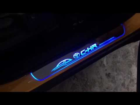 Toyota C-HR Hybrid 2017 Installed LED Blue Moving Scuff Plate