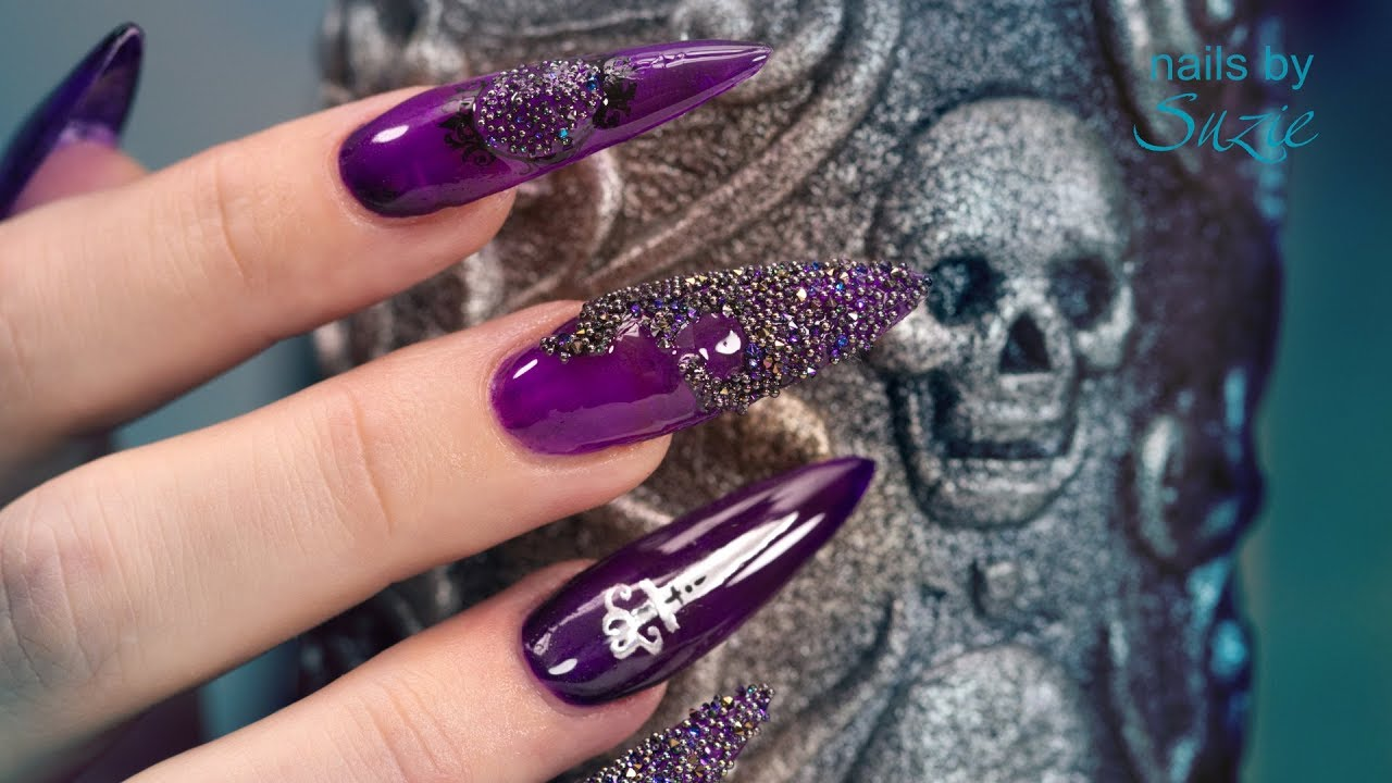 3da00a181 Goth •Special• Sculpted Acrylic Nails 🗡 - YouTube