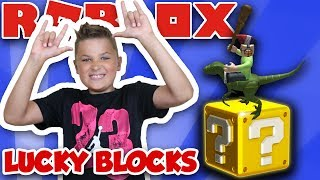 ROBLOX LUCKY BLOCKS RIDING RAPTOR ! AWESOME BATTLEGROUNDS | CRAZY WEAPONS