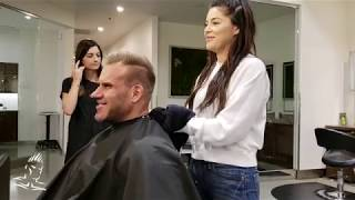 Jay Cutler gets a hair cut at Atelié by Square Salon before heading to Dubai Muscle Show