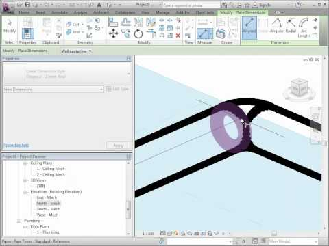 Revit Pipe Dimensions in 3D