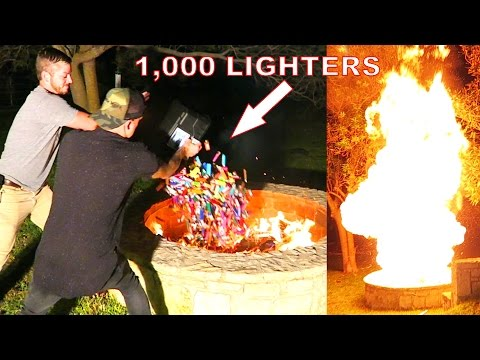 1,000 LIGHTERS vs CRAZY BONFIRE EXPERIMENT!!