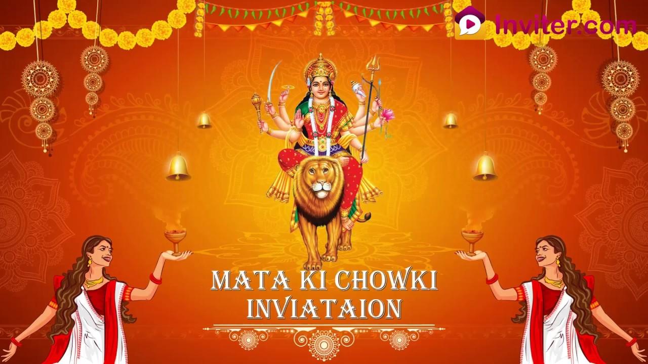 Whatsapp Durga Puja Matha Ki Chowki Invitation Video Inviter
