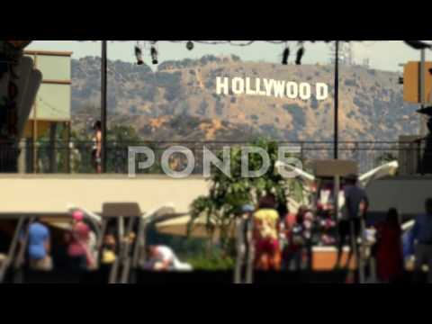 Hollywood Sign Los Angeles City Tourists Usa Mountain Tourism Footage Travel