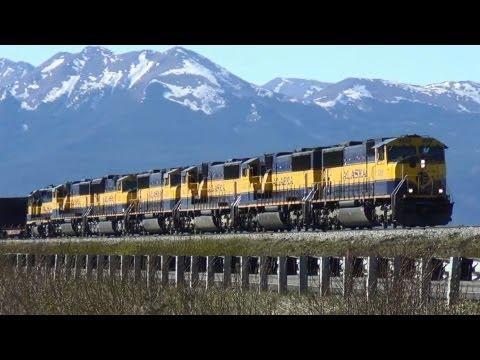 Heavy duty Alaska Railroad Coal train with 7 engines at Anchorage. thumbnail