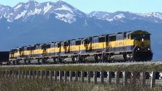Heavy duty Alaska Railroad Coal train with 7 engines at Anchorage.