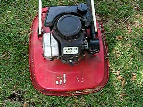 allen aka flymo with a suzuki m120x 2 stroke motor youtube rh youtube com rover suzuki lawn mower parts Ryobi Lawn Mower