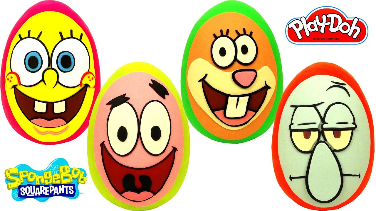 4 Ovos Surpresas de Bob Esponja Patrick Sandy Lula Molusco em Português Brasil de Massinha Play Doh