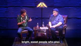 Jesse Eisenberg visits Michael Moore on Broadway
