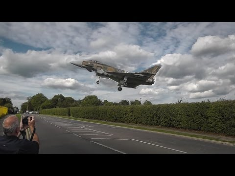 Very low - Royal Air Force - Eurofighter Typhoon ZK349 landing RAF Northolt